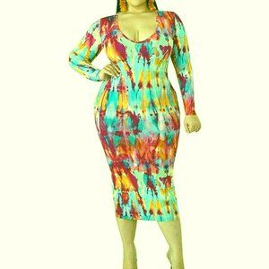 Dresses & Skirts - Long Sleeve Floral African Mock Neck Party dresskq